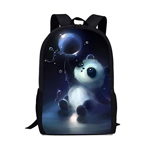 Panda Backpack for Elementary School Kids Girls Bookbags Personalized without Name Tags