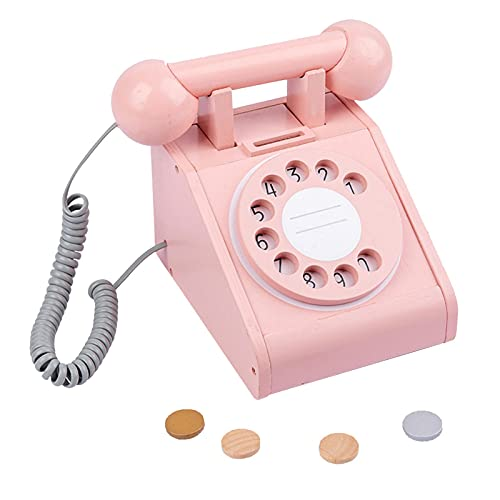 ORTUH Teléfono retro con dial, simulación de madera, juguete con cuatro monedas de simulación, juguete educativo regalo para bebés y niños