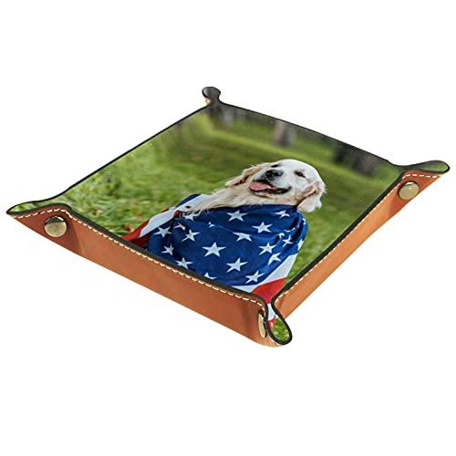 Caja de almacenamiento pequeña, bandeja de valet para hombre,Lindo retriever perro envuelto bandera de los EEUU,Organizador de cuero para llaves de caja de monedas