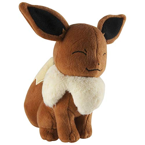 Tomy Brand Pokemon Eevee Plush, Closed Eyes, 8 Inches Tall