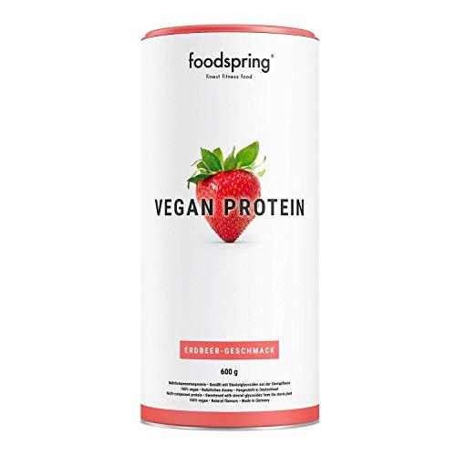 foodspring Vegan Protein Pulver, Erdbeere, 600g, Veganes Mehrkomponentenprotein zum Muskelaufbau