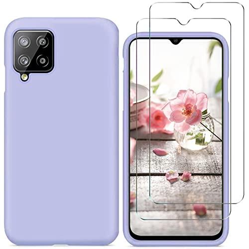 N\C YiKaDa - Funda Compatible con Samsung Galaxy A12 + [2 Unidades] Cristal Templado Protector de Pantalla, Cáscara Suave de Silicona TPU Líquida - Púrpura