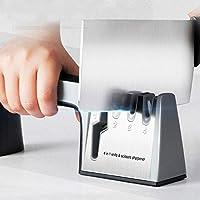 シャープナー 包丁 シャープナーダイヤモンドキッチンツールステンレス鋼のシャープナイフシャープナー用のボックスを持つナイフはさみストーニングナイフスリッカー (Color : 4 stages black recom)