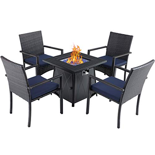 "Sophia & William Outdoor 5 Pieces Dining Set with 1 Square Gas Fire Pit Table and 4 PE Rattan Chairs, Modern 2 in 1 50000 BTU Patio Propane Firepits Table Auto-ignition Black 28.4""L x 28.4""Wx 24.8""H"