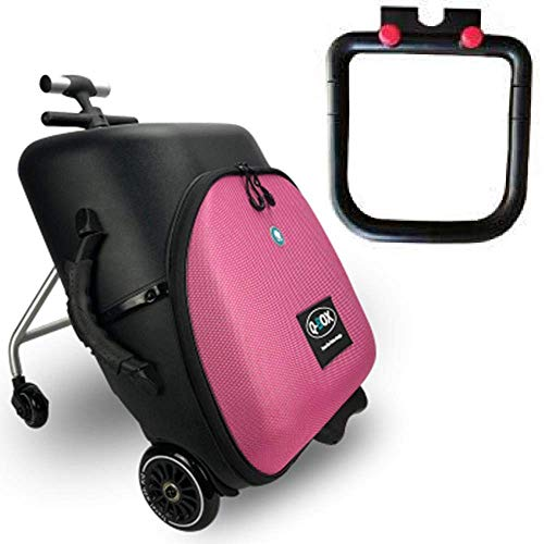 GEZHU Kids Scooter Carry on Luggage Children Baby Sit Ride on Scooter for Baby Travel Suitcase Lazy Bag New Trolley Case, black+guardrail Fun toys for children. (Color : Pink+guardrail)