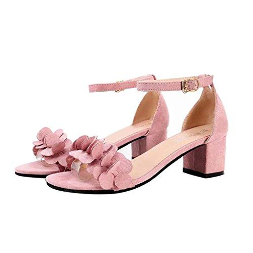 Liquidación! Covermason Bloque de las señoras Sandalias de tacón alto Flores Adorn Buckle Tacones Zapatos(38 EU, Rosado)