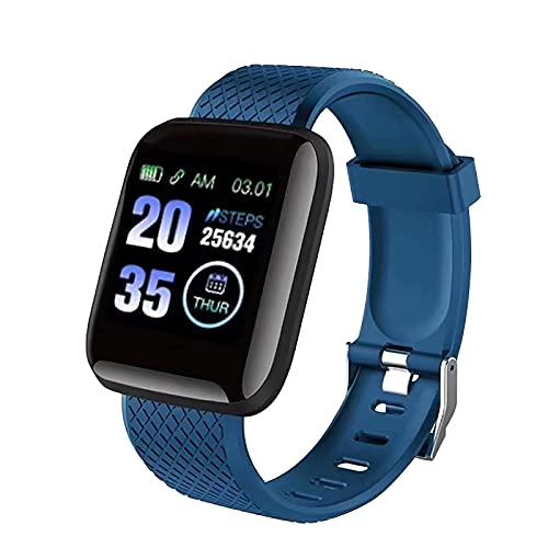 Neubula - Reloj inteligente para mujer y hombre, Bluetooth, seguimiento de actividad, con frecuencia cardiaca, pista de fitness, recordatorio SNS, pulsera inteligente de deportes al aire libre, azul