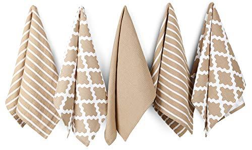 Penguin Home 3052 Pingouin Home 100% Lot de 5 Assortis Motif torchons, Coton, Beige, 65 x 45 x 0.5 cm, Paquet