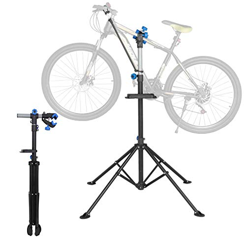 Yaheetech Fahrradmontageständer 50 kg Belastbar, Reparaturständer 360 Grad Drebar, Klappbar und Höhenverstellbar, mit magnetischer Werkzeugschale