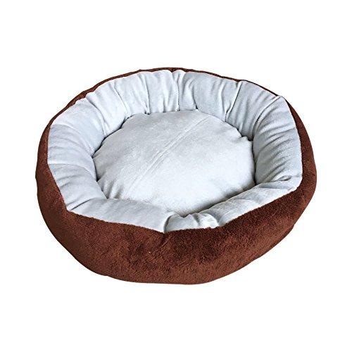Aleko PB22GB - Cama de felpa para mascotas con almohada extraíble (26 x 17,5 cm), color marrón y gris