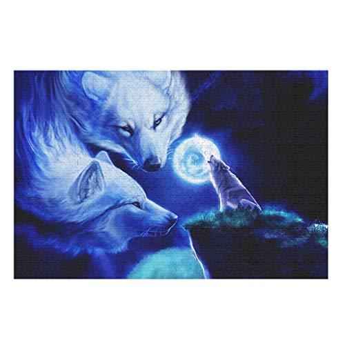CCMugshop Divertido puzle de fantasía, lobo, búhos, luna, lobo, fantasma, 500/1000 piezas, juego de descompresión, color blanco