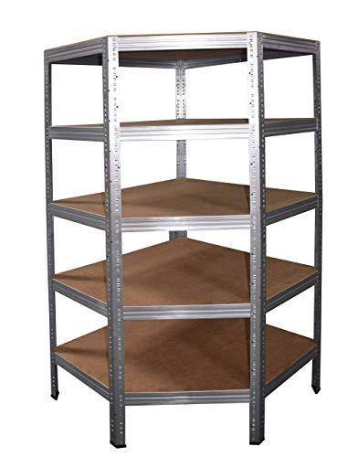 PROFI Eckregal SL 180x80x50 cm verzinkt mit 5 Böden - Steckregal für unsere 50 Tiefen - Regal Kellerregal Lagerregal Metallregal Garagenregal Regalsystem Fachbodenregal Werkstattregal Haushaltsregal