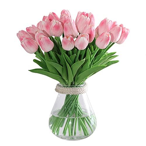 Kisflower 30Pcs Fiori Artificiali di Tulipani Tulipani Finti Bouquet Real Touch Flowers for Decor (Rosa)