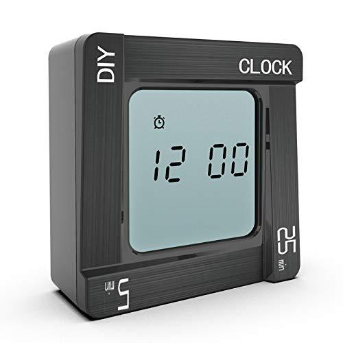 Voluox - Temporizador digital de cocina, temporizador de cocina con cuenta atrás/cronómetro, ideal para cocinar, hornear, deportes, estudiar, etc. (negro)
