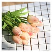 造花 10ピースの偽のチューリップの造られた花ブーケブライダルアクセサリー (Color : 12)