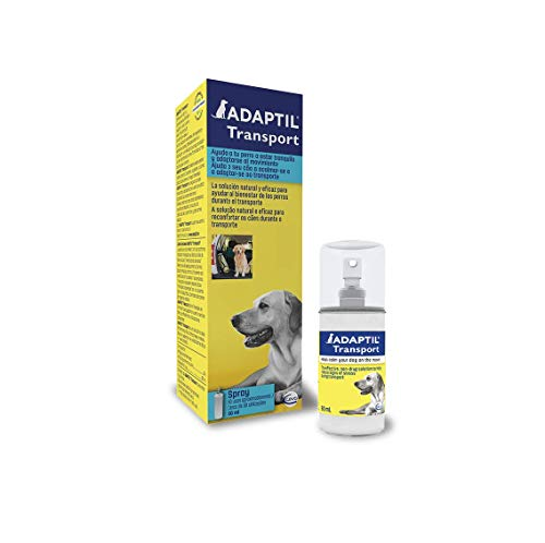 ADAPTIL Transport - Antiestrés para perros - Viajes, Transporte, Temblores, Lloros, Jadeos, Inquietud, Tensión - Spray 60 ml ✅