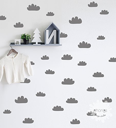 Cloud Wall Decal/Hand Sketched Clouds / 48 Clouds Sticker/Kids Wall Decor/Nursery Custom/removable/unique living room/gift