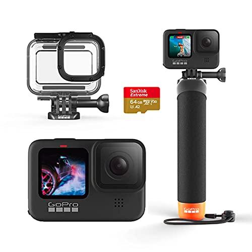 Câmera GoPro HERO9 Black - Kit Water Prime com Cartão de Memória 64GB Sandisk Extreme, Caixa Protetora e Bastão The Handler 3.0