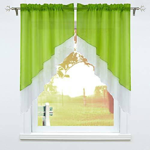 Schoal, tendina a finestra con coulisse, 2 pezzi, per piccole finestre da cucina, set da bistro, tenda da finestra, moderna, verde, larghezza x altezza 90 x 100 cm