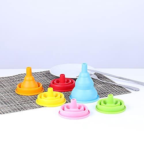 Utensilios de cocina Embudo de silicona plegable de grado alimenticio para el hogar, mini embudo (color: amarillo)