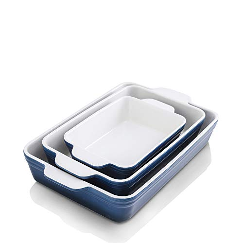 KOOV Bakeware Set, Ceramic Baking Dish Set, Rectangular Casserole Dish Set, lasagna Pan, Baking Pans Set for Cooking, Cake Dinner, Kitchen, 9 x 13 Inches, 3-Piece (Set of 3, Gradient Blue)