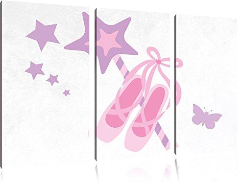Pretty wand met ballerinaFoto Canvas 3 deel | Maat: 120x80 cm | Wanddecoraties | Kunstdruk | Volledig gemonteerd