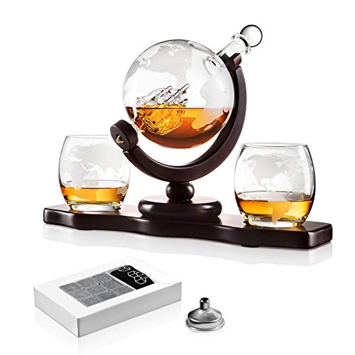 Chefoh Glass Globe Decanter Set w/Whiskey Glasses, Reusable Steel Ice Cubes, Cherry Wood Stand, Tongs, Pour Funnel | Liquor, Wine, Scotch | Vintage Home, Dining, Bar Decor
