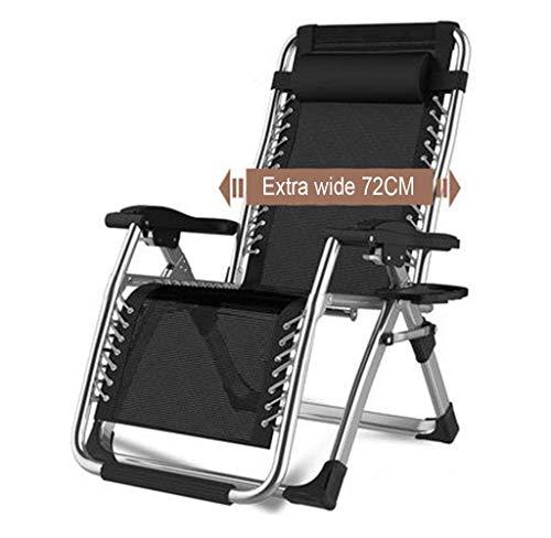 Tumbonas Sillones de Servicio Pesado y Cuna Plana Completa, sillas reclinables Plegables para jardín, Exterior, Playa, Piscina, Camping, Patio, Juego de 1, negro1
