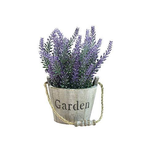 Kaptin Artificial Lavender Plant,Faux Lavender Flower,Potted Plant in Wood Garden Bucket Planter Pot for Home Shop Decor