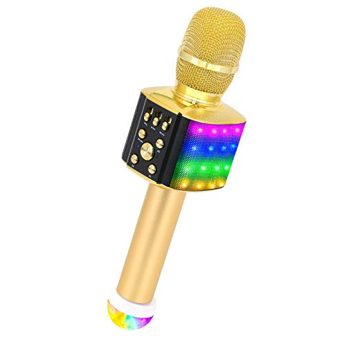 BONAOK Bluetooth Karaoke Wireless Microphone with Flashing Dancing Lights & USB Disco Ball Light, 4 in 1 Portable Bluetooth Karaoke Machine Home Party Speaker for Android/iPhone/iPad/PC (Gold)