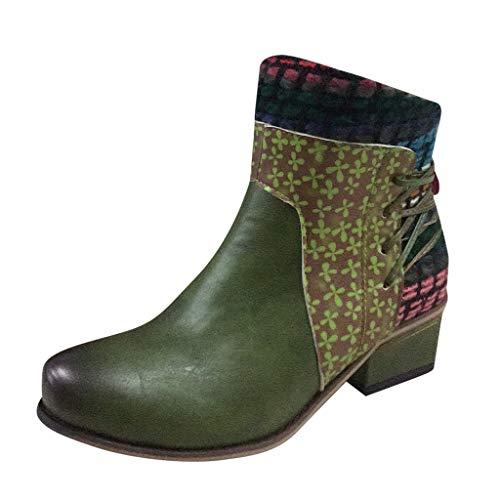 Floweworld Damenmode Chelsea-Stiefel Niedriger Absatz Farblich passende Bandage Lässige Kurze...