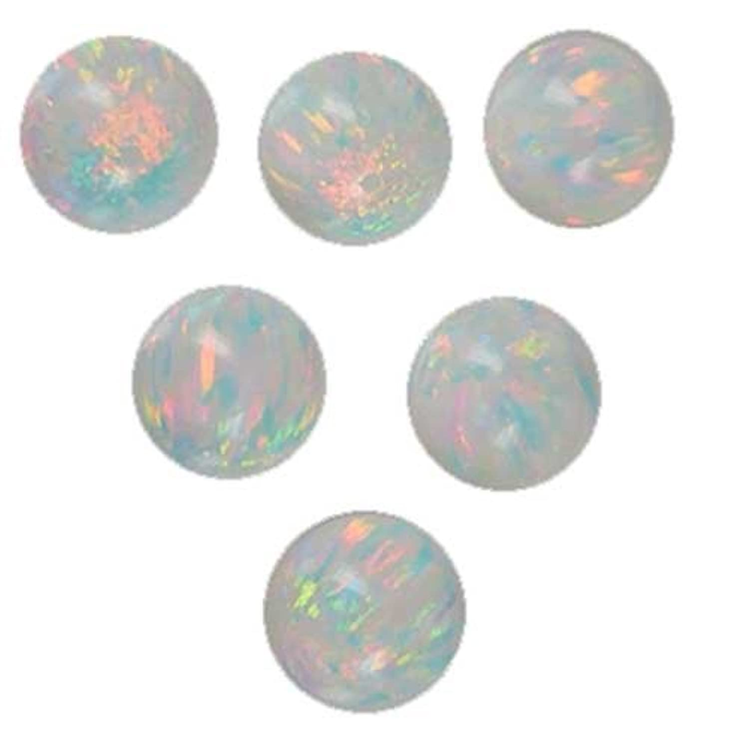uGems 6 Created Opal 8mm Round Beads for Fine Jewelry (Qty=6)