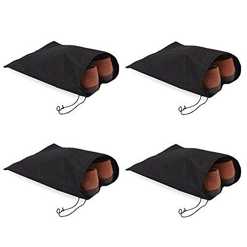 BIGBOBA 4 Pcs Portable Sacs de Cordon de Serrage Extérieur Voyage Constituant Chaussures Sacs Faisceau Poche en Coton et Lin à Chaussures Sac de Rangement Noir 28.5 * 36 cm