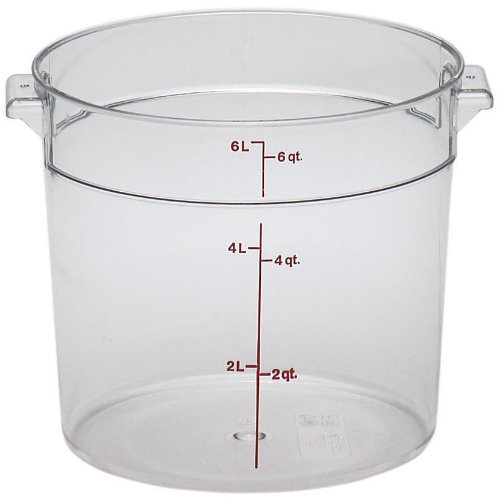 Cambro RFSCW6135 Camwear Round Food Storage Container, Polycarbonate, Clear, NSF, 6 Quart