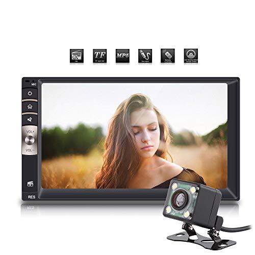 "Doble Din Car Stereo,7""Pantalla táctil HD Bluetooth MP5 Reproductor digital de video MP5/4/3 Reproductor Radio de coche Audio Receptor multimedia,con cámara de visión trasera,soporte USB/TF/FM/AUX"