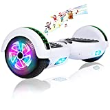 Felimoda Hoverboard, 6.5 Inch self Balancing Hoverboard with LED Light Flashing Wheel for Kids & Adult (White)