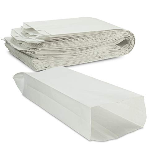 Plain White Paper Bread Bag 5 1/4' x 3 1/4' x 18' Keep Bread Fresh by MT Products - (50 Pieces)