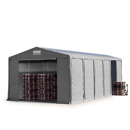 TOOLPORT Lagerzelt Industriezelt 8x12 m Zelthalle mit Oberlicht 4,0m Seitenhöhe grau ca.550g/m² PVC Plane 100% Wasserdicht Reißverschlusstor