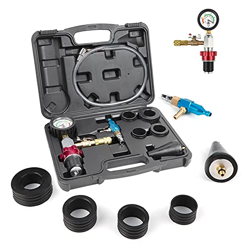 DUOYI Coolant Vacuum Refill Tool Kit Engine Cooling System Vacuum Purge & Refill Kit New Coolant Bleeder Kit with 4 Rubber Sleeves & 1 Universal Adapter Cone Plug (with Carrying Case)