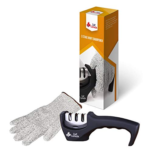 ZAP CANADA Premium 3-Stage Knife Sharpener - Manually Reshape, Sharpen, and Hone, All In One Kitchen Tool - Ergonomic Hand-held Design Equipped With Steady Rubber Base + Cut Resistant Glove Included