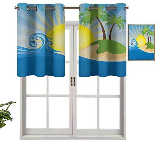 Hiiiman Cortina moderna para ventana, diseño de playa con rayos de sol, disposición de isla tropical, juego de 2, 106,7 x 91,4 cm, paneles opacos decorativos para el hogar para sala de estar