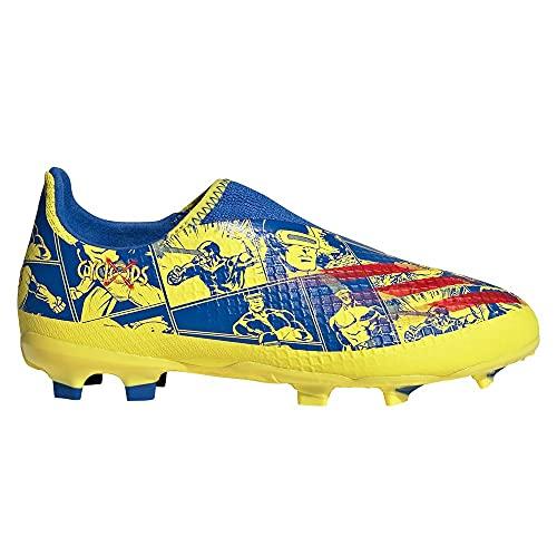 adidas X Ghosted.3 LL FG Niño, Bota de fútbol, Blue-Vivid Red-Bright Yellow, Talla 3.5 UK (36 EU)