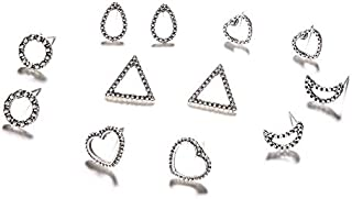 5 pares/set Mujeres Moda Punk Hollow Heart Drops Moon Triangle Geometric Silver Earrings Set Party Wedding Gift Accessories