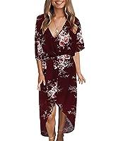 yoins vestito estivo lungo abito elegante donna vestiti collo a v sciolto a pieghe manica corta retro abiti floreale casuale da cocktail vino rosso-02 eu46