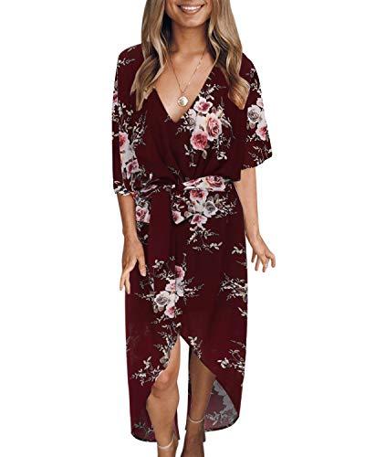 YOINS Sommerkleid Damen Lang V-Ausschnitt Off Shoulder Maxikleider für Damen Kleider Lose Kleid Strandmode,Rotwein,EU 40-42 (Medium)