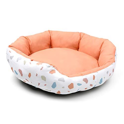 JEMA ペット ベッド ソファ 洗える クッション 猫ベッド 冷感 ひんやり 通気性いい 通年タイプ 夏 休憩所 かわいい 小型犬用 寝床 暑さ対策 ペット用品 カケラ柄 ピンク 45*40*14cm
