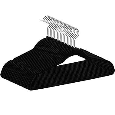 HIPPIH 50 Packs Hangers Non-Slip Traceless Strong Velvet Clothes Suit Black Hanger - Hold Up to 10 Lbs