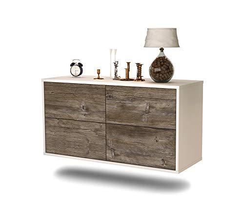 Lowboard Philadelphia hangend (92 x 47 x 35 cm) romp wit mat | front hout design drijfhout | Push-to-Open | hoogwaardige lichtlopende rails