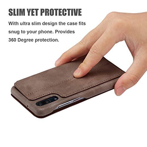 QLTYPRI Huawei P30 Hülle, Premium PU Leder Handyhülle Ultra Dünne Ledertasche Magnetverschluss Standfunktion & Kartenfach Wallet Case Flip Schutzhülle für Huawei P30 - Braun - 6