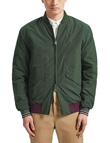 Fred Perry Men's Bomber Jacket Quilted Green in Size Medium